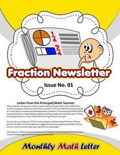 Fraction Newsletter { #Fraction Games & Activities} - All Text is EDITABLE!!    The Secret to Helping Kids Learn To Love Math!!!!  https://www.teacherspayteachers.com/Product/Fraction-Newsletter-Fraction-Games-Activities-All-Text-is-EDITABLE-1702214