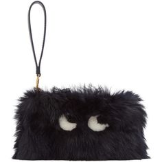 Anya Hindmarch Black Shearling Creeper Clutch ($800) ❤ liked on Polyvore featuring bags, handbags, clutches, ink, anya hindmarch purse, zipper handbags, long purse, long handbags and zip purse
