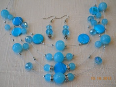 """NEW 10 1/2""""  Four Layer Blue Stone Beads and Silver Wire Necklace by maryannsway on etsy"""