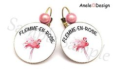 Boucles d'oreille Flamant rose - Flemme en Rose - TROPICAL rose blanc perles Place Cards, Place Card Holders, Bali, Tropical, Google, Boucle D'oreille, Locs, Ears, Beads
