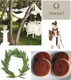Clean and simple kid's Greek party. Grad Parties, Birthday Parties, 10th Birthday, Percy Jackson Party, Greek Plays, Greek Decor, Toga Party, Roman Gods, Greek Gods And Goddesses