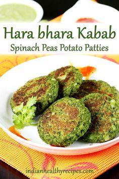bhara kabab hara bhara kabab are healthy & nutritious vegetable kababs made with spinach peas potatoes and spices.hara bhara kabab are healthy & nutritious vegetable kababs made with spinach peas potatoes and spices. Vegetable Recipes, Beef Recipes, Snack Recipes, Cooking Recipes, Healthy Recipes, Healthy Meals, Healthy Drinks, Pasta Recipes, Vegetarian