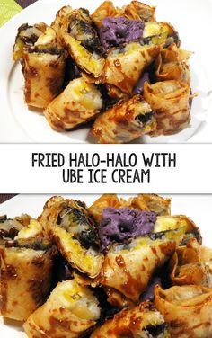 Learn how to make Fried Halo-Halo with Ube Ice Cream Filipino Dishes, Filipino Desserts, Filipino Recipes, Asian Recipes, Filipino Food, Ube Recipes, Cooking Recipes, Halo Halo Dessert, Kitchens