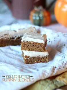 Browned Butter Pumpkin Blondies.  With or without frosting these are so dense and chewy and delicious!!
