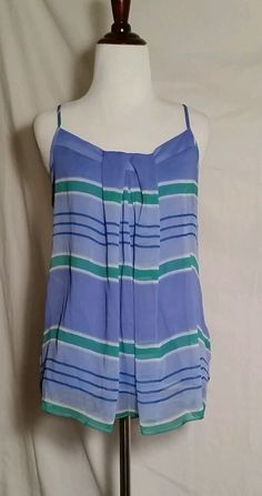 NY&C top, blue white stripe, size M, adj straps,sheer poly shell, rayon lining, in Clothing, Shoes & Accessories | eBay