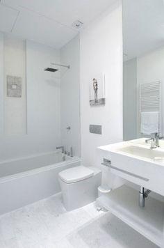 Bañera con ducha efecto lluvia y fijo de cristal.