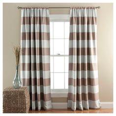 Stripe Curtain Panels Room Darkening - Set of 2 - Taupe, Taupe Brown