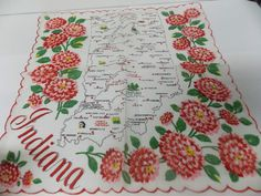 Vintage Souvenir Hankerchief Scarf  INDIANA State Map & Peony State Flower