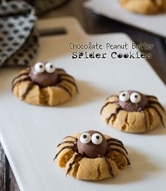 Make cooky spiders out of chocolate truffles for this Halloween inspired peanut butter cookie.