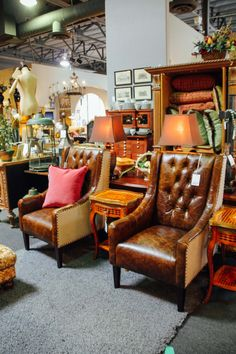 Cognac leather accent chairs for the living room found at Avery Lane Fine Consignment in Scottsdale, Arizona.