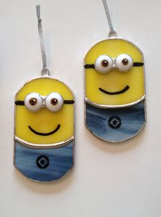 Handmade Stained Glass Minion or Evil Minion by QTSG on Etsy