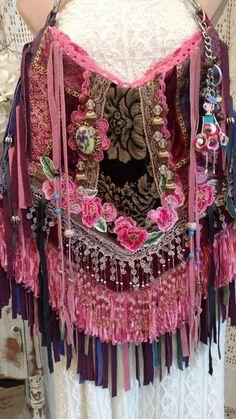 Handmade Fringe Large Gypsy Bag Tote Hippie Boho Hobo Purse Vintage Lace tmyers #Handmadebytmyers #ShoulderBag