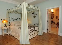 Tatiana and Oberon from Shakespeare's A Midsummer Night's Dream inspired this romantic room at Nora Roberts' Inn BoonsBoro. Photo by Bruce . Dream Bedroom, Master Bedroom, Diy Bedroom, Canopy Bed Drapes, Romantic Room, Romantic Getaway, E Room, Porch And Balcony, Nora Roberts