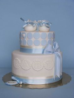 boy shower cake blue ribbon booties