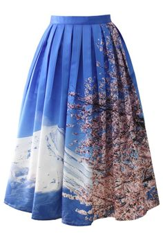 Chicwish Fuji Sakura Print Pleated Midi Skirt