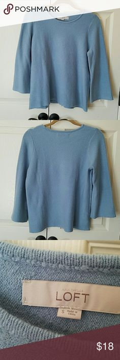 LOFT Sweater NWOT Super soft and cute!  Has bell sleeves.  Medium weight. I bought this in two colors and just havent worn tis one.  No flaws. LOFT Sweaters Crew & Scoop Necks