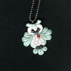Pale Blue Hooty Owl Necklace Polymer Clay Jewelry by Freeheart1