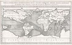"""A rare and spectacular 1665 map of the world by the extraordinary Germany scholar Athanasius Kircher. This is most likely the first world map to depict the oceans currents. Shows the entire world in accordance with Kircher's hydro-geographic theory that tides and currents are caused by water moving to and from a massive subterranean ocean. Kircher postulated that water entered and exited the subterranean ocean via a number of great abysses situated around the globe""."
