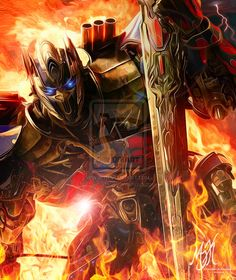 TF AOE Optimus Prime: Into the Fire by OPGirl106.deviantart.com on @DeviantArt