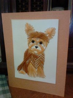 Darling Yorkie Hand Stitched greeting card, pattern by Stitching Cards...ready for your greeting, great for all occasions...