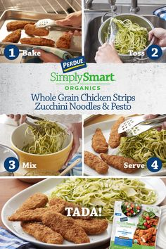 Healthy swaps don't have to take a lot of time! Our Chicken with Pesto Zucchini noodles is quick and yummy. Healthy Dishes, Healthy Eating, Healthy Recipes, Pesto Zucchini Noodles, Healthy Munchies, Tasty Videos, Pesto Recipe, Pesto Chicken, Dessert For Dinner