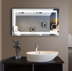Large Bathroom Mirrors for Sale . Large Bathroom Mirrors for Sale . Gold Hardware Long Vertical Symmetric Mirrors In 2019 Backlit Bathroom Mirror, Lighted Vanity Mirror, Led Mirror, Bathroom Light Fixtures, Bathroom Sink Vanity, Mirror With Lights, Vanity Mirrors, Ada Bathroom, Wall Mirrors
