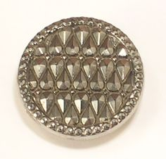 Imitation Marcasite Gray and Black Shank Single Button 7/8 Inch Wide by JohnGermaine on Etsy