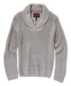 This Heather Gray Button Shawl-Collar Sweater is perfect! #zulilyfinds