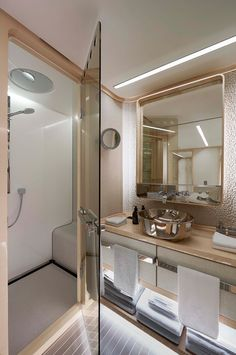 Small Yacht Bathroom Design ahead of the curve | teak flooring, teak and ceiling