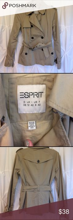 "Espirit cargo jacket Like new! Fits size small, comes to a little below the waist if you are 5'2"" and your waist if taller. Includes belt! Missing top right button, but you can hardly tell. Esprit Jackets & Coats"