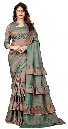 Buy Online Latest Pattern ruffle Pure Silk Saree With Blouse For Women At Best Price in India! Buy Online Latest Pattern ruffle Pure Silk Saree With Blouse For Women At Best Price in India! Saree Blouse Neck Designs, Fancy Blouse Designs, Latest Blouse Designs, Lehenga Designs, Indian Designer Outfits, Latest Designer Sarees, Latest Sarees, Stylish Sarees, Trendy Sarees