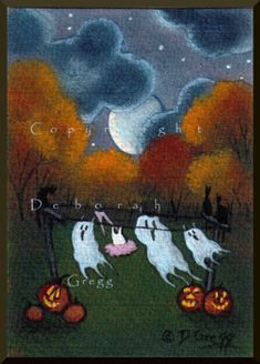 Ghosts On The Line a tiny Halloween Ghost Moon aceo sized Print By Deborah Gregg Halloween Artwork, Halloween Pictures, Halloween Ghosts, Holidays Halloween, Happy Halloween, Halloween Decorations, Halloween Costumes, Halloween Stuff, Scream Halloween