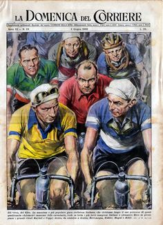 La Domenica del Corriere, June (Cover art: Gino Bartali and Fausto Coppi in the Giro d'Italia by Walter Molino) Cycling Art, Road Cycling, Cycling Bikes, Cycling Jerseys, Non Plus Ultra, Bike Poster, E Sport, Vintage Cycles, Bicycle Art