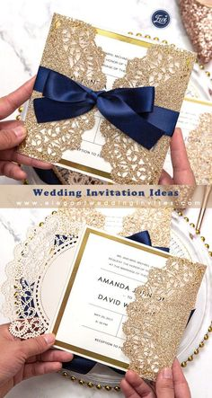Elegant rose gold and navy blue glitter wedding invitations with gold glittery mirror paper bottom EWWS192