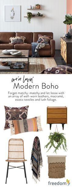 New day, new dawn! The change in seasons heralds the much-anticipated arrival of our fresh new interior trends and the freedom just-gotta-haves that you need to style each look. Forget match-matchy and let loose with an array of well-worn leathers, macramé wall hangings, exotic textiles and lush foliage, for a laid-back look that's truly unique.