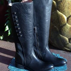 """Lucchese Leather Boots Host Pick X2 Black all leather boots with stretch inserts. A amazing details, leather soles. 1"""" heel; 15 1/2"""" in front; 15"""" high in back; 12"""" round top. These are a steal! No box.  Please ask questions as you are buying article """"as is"""". All sales final. No returns. I will negotiate. Please use blue offer button and I will counter with my lowest price. I love bundles but do not utilize bundle option so tag me. Again, ask questions as I want you to feel good about your…"""
