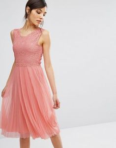 Oasis Lace Pleated Midi Dress