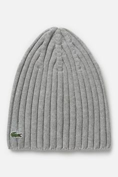 #Lacoste Women's #Green Croc Cotton #Cashmere Ribbed #Beanie