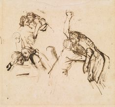 Rembrandt van Rijn (1606–1669), Three Studies for a Descent from the Cross, ca. 1654. Pen and brown ink. Thaw Collection, The Morgan Library & Museum. Photography by Steven H. Crossot.