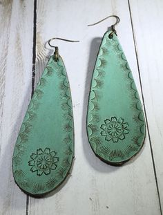 Hand stamped leather earrings-Long Teardrop  It Must Be a Sign