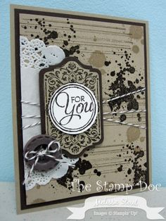 Chalk Talk stamp set and Framelits, Gorgeous Grunge stamp set, Simply Pressed Clay & Molds, Early Espresso Baker's Twine, Paper Doily
