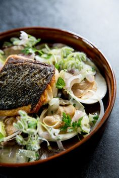 Striped Bass and Clams from Commissary in SF