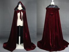 Wine Red Black Velvet Hooded Cloaks Medieval Costumes in Wicca Size s M L XL XXL | eBay