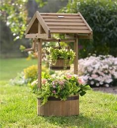 Deck planters add color and style to your home. Shop our selection of self watering planters, decorative planters, crocks, patio planters and porch planters. Deck Planters, Wooden Planters, Wishing Well Garden, Small Solar Panels, Backyard Landscaping, Modern Backyard, Backyard Ideas, Landscaping Ideas, Garden Projects