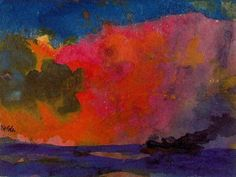Emil Nolde - Sea with Colourful Sky Brilliant! The colours are so vibrant and the colour blending creates a surreal rendering of sea and sky. Collage Landscape, Watercolor Landscape, Watercolor And Ink, Abstract Landscape, Landscape Paintings, Abstract Art, Emil Nolde, Art Moderne, Art Graphique