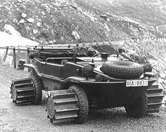 "1944 | VW Schwimmwagen Typ 166/5 fitted Snow-Rollers with ""deep-treaded"" drum-type wheel-extensions"