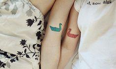 Twin origami tattoo idea for Zoe and I. Best Couple Tattoos, Love Tattoos, Tattoo You, Beautiful Tattoos, Picture Tattoos, Tattoos For Women, Arm Tattoo, Tattoo Pics, Bird Tattoos