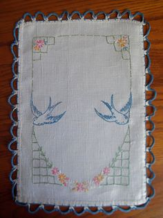 Vintage Linen With Bluebirds And Pink Flower by remnantsbycarrie, $12.00