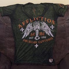 Affliction American Custom rhinestone long tee Never worn too big for me Affliction Tops Tees - Short Sleeve