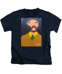 Patrick Francis Designer Kids Navy T-Shirt featuring the painting Portrait Of Eugene Boch - After Vincent Van Gogh by Patrick Francis